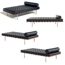 Kaki Stainless Steel China Leather Daybed